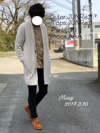 「トルファンサテンオーバーダイバンドカラーシャツ(JUNRed)」 using this にっしー looks