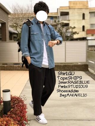 「Hanes×SHIPS AUTHENTIC PRODUCTS(ヘインズ×シップス・オーセンティック・プロダクツ): 2パック/Tシャツ Japan Fit□予約商品(SHIPS)」 using this にっしー looks