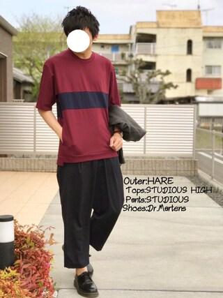 「エアーポンチパネルTシャツ(STUDIOUS)」 using this にっしー looks