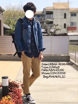 「フェイクスエードシャツ(JUNRed)」 using this にっしー looks