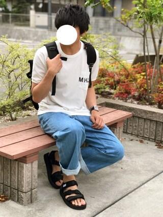 「MHL.×URBAN RESEARCH 別注LOGO T-SHIRTS(MHL.)」 using this にっしー looks