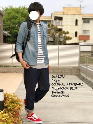 「【WEB&渋谷店限定】ストレッチボーダーボートネックTee#(JOURNAL STANDARD)」 using this にっしー looks
