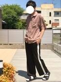 にっしーさんの「【WEB限定】STUDIOUS フィブリルサテンオープンカラーシャツ(STUDIOUS|ステュディオス)」を使ったコーディネート