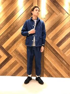 FREAKS STORE 原宿店|H.Murataさんのテーラードジャケット「APOLIS×FREAK'S STORE/アポリス Indigo Field Chore JKT(FREAK'S STORE|フリークスストア)」を使ったコーディネート