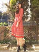 ハヤシ アンナさんの「スエードライクスカラップブーツ(merry jenny メリージェニー)」を使ったコーディネート