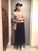 YOSHIさんの「ふんわりチュールスカート(coca|コカ)」を使ったコーディネート