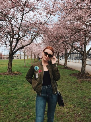 「Topshop 'Bruce' Patch Detail MA1 Bomber Jacket (Regular & Petite)(Topshop)」 using this Maddie Greer looks