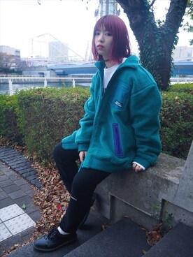 XLARGE/X-girl みなとみらい 稲川 彩華さんの「FLEECE JACKET(X-girl)」を使ったコーディネート