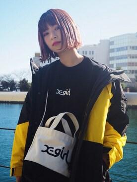 XLARGE/X-girl みなとみらい 稲川 彩華さんの「TEE & BAG SPECIAL SET(X-girl)」を使ったコーディネート