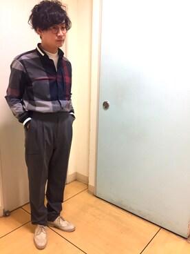 ブルーレーベル/ブラックレーベル・クレストブリッジZOZOTOWN店|T.Kuchidaさんの「ビッグスケールクレストブリッジチェック オーバーサイズシャツ(BLACK LABEL CRESTBRIDGE)」を使ったコーディネート
