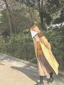 しえろさんの「(GU)ボリュームタートルセーター(長袖)A OFF WHITE XL(GU|ジーユー)」を使ったコーディネート
