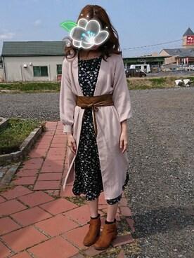 りりぃさんの「片畦ボリューム袖ロングカーディガン(mysty woman|ミスティウーマン)」を使ったコーディネート