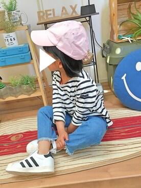 R☆.+*さんの「裾フリンジデニムワイドパンツ(petit main|プティマイン)」を使ったコーディネート