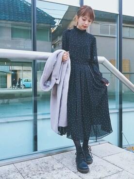 MURUA ルミネエスト新宿|Chie Katoさんの「ドットプリントタックワンピース(ECLIN)」を使ったコーディネート