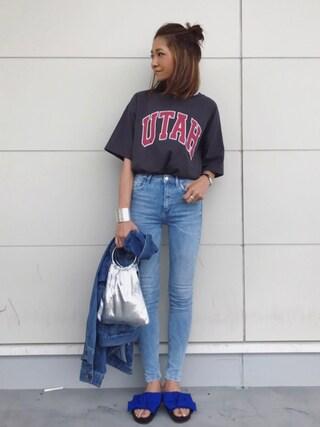kayoさんの「綿アソートロゴTシャツ【niko and ...】(niko and... ニコアンド)」を使ったコーディネート