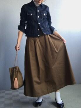 hm!さんの「コットンギャバタックギャザースカート #(JOURNAL STANDARD)」を使ったコーディネート
