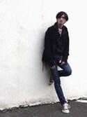 君嶋麻耶さんの「プチニュースタンダードジーンズ(A.P.C.|アー・ペー・セー)」を使ったコーディネート