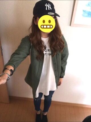 #アイリさんの「BACKプリントミリタリーシャツ(ANAP|アナップ)」を使ったコーディネート