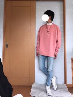 プチプラRYOさんの「MEN ソフトタッチハイネックT(長袖)(ユニクロ)」を使ったコーディネート