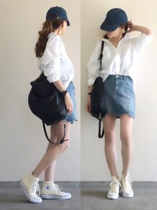 Yukie♡iさんの「オーバーフォルムシャツ(ELENDEEK|エレンディーク)」を使ったコーディネート