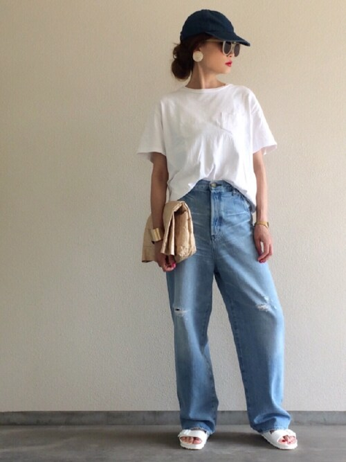 Yukie♡iさんの「【BEN DAVIS】2枚組Tシャツ(BEN DAVIS)」を使ったコーディネート