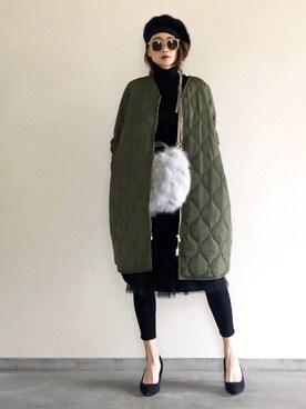 Yukie♡iさんのミリタリージャケット「【STYLEBAR】ミリタリーノーカラーキルティングコクーンコート(Emma Taylor エマテイラー)」を使ったコーディネート