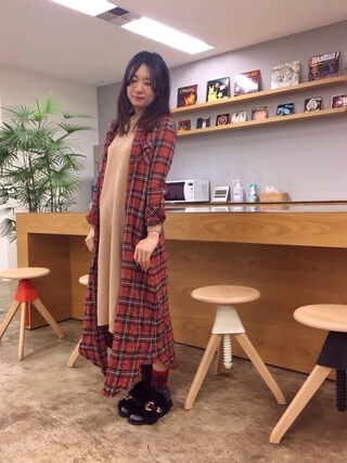 「<スザンヌさんコラボ>ラブ&ピースプロジェクト リップル編みニットワンピース(haco!)」 using this pinoko looks