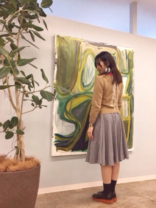 「GINGHAM CHECK FLARED MIDI SKIRT(G.V.G.V.)」 using this pinoko looks