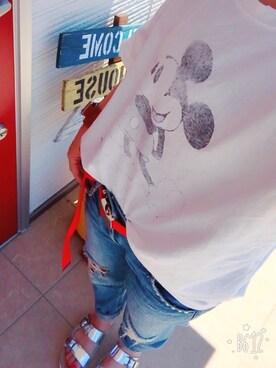"""miyumarさんの「via j by Disney(ヴィアジェイ) """"Mickey Mouse""""Tシャツ(via j)」を使ったコーディネート"""