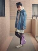 fumiさんの「KBF プリーツ巾着BAG(KBF|ケイビーエフ)」を使ったコーディネート