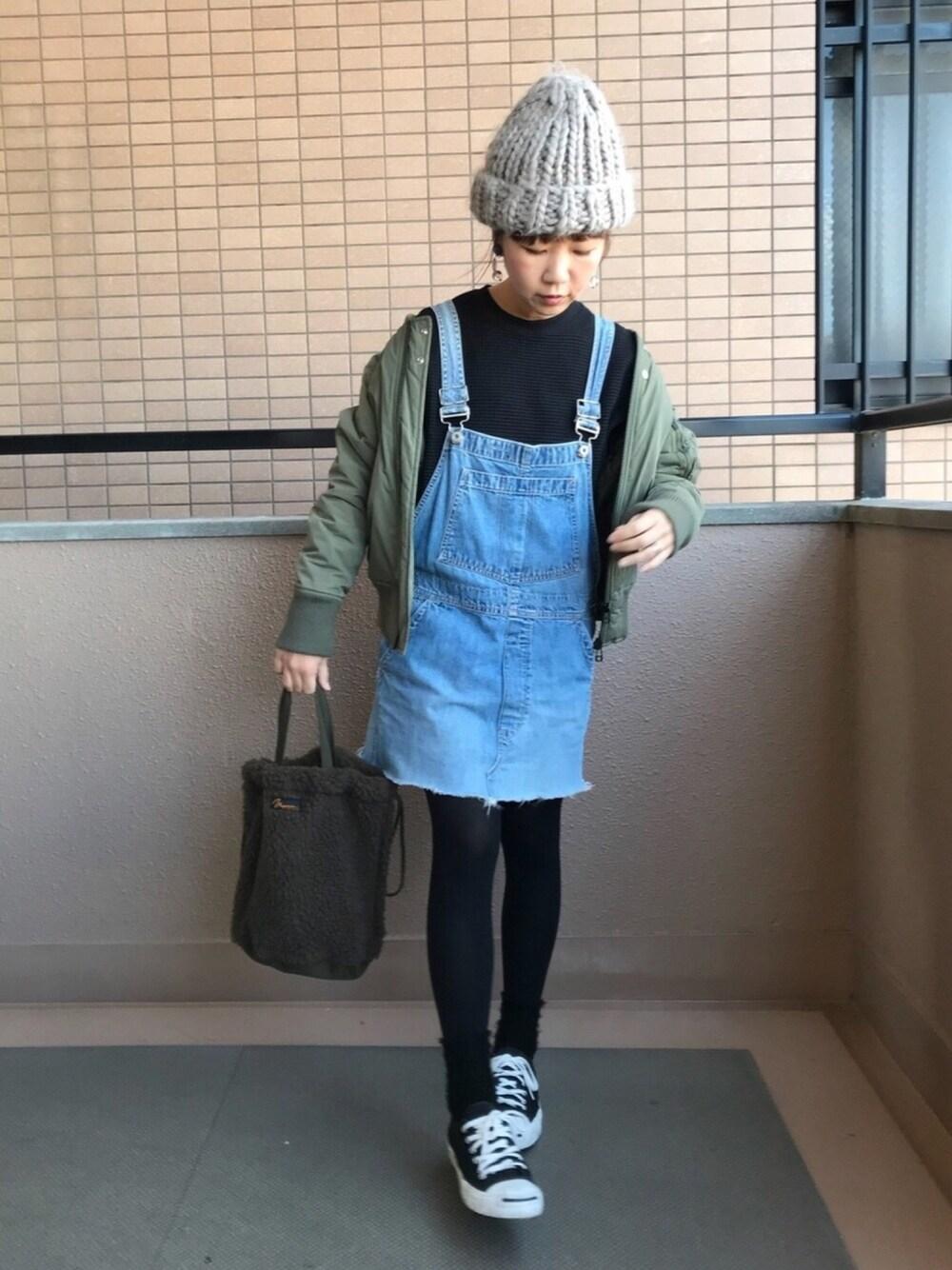 グレーニット帽×デニム