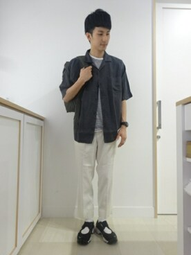 GLOBAL WORK 神戸ウミエ|Tatsuya Uedaさんのパンツ「ストレッチメンアサアンクルCUT/739263(GLOBAL WORK|グローバルワーク)」を使ったコーディネート