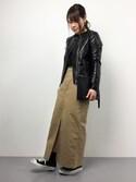 natsumiさんの「セミダブルラムレザーライダースジャケット(FREAK'S STORE|フリークスストア)」を使ったコーディネート