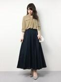 natsumiさんの「DOORS ギャザーフレアマキシスカート(URBAN RESEARCH DOORS WOMENS|アーバンリサーチ ドアーズ ウィメンズ)」を使ったコーディネート