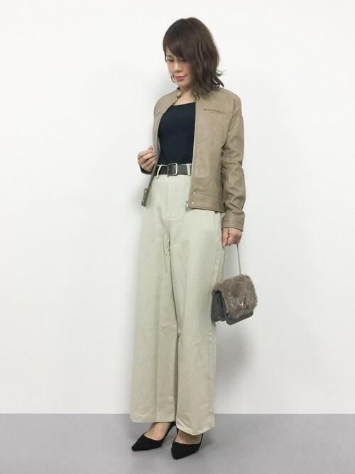 natsumiさんの「フェイクレザーシングルライダースジャケット(Fashion Letter)」を使ったコーディネート