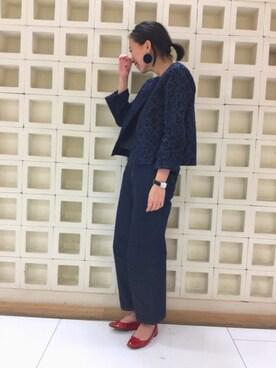 45R 京都伊勢丹|かわもとさんの「デニムONデニムキルトボレロ(45r)」を使ったコーディネート