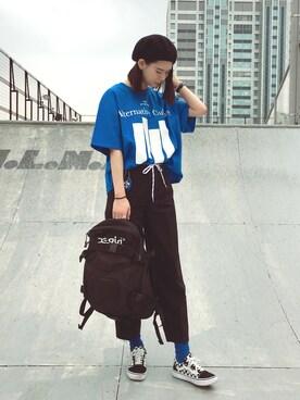 X-girl store|kieさんの「BARS BIG CROPPED S/S TEE(X-girl)」を使ったコーディネート