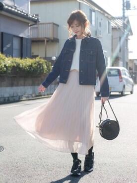 プチプラのあやさんの「WOMEN シフォンプリーツスカート(ユニクロ|ユニクロ)」を使ったコーディネート