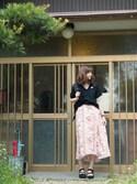 プチプラのあやさんの「大人気!ミント再入荷★花柄アシンメトリーロングスカート(4color)(copine|コピン)」を使ったコーディネート