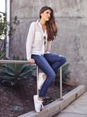 「Current/Elliott Stiletto Mid-Rise Ankle Jeans(Current/Elliott)」 using this Adelina Perrin  looks
