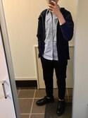 トクちゃんさんの「MEN ジョガーパンツ(コットン・レングス68~72cm)(ユニクロ|ユニクロ)」を使ったコーディネート