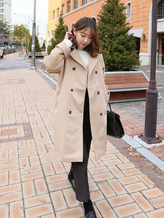 Daily about|DAILYABOUTさんの「シンプルピンタックハイウエストスラックス(P0000WGH)(Dailyabout|デイリーアバウト)」を使ったコーディネート