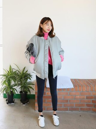 Daily about|DAILYABOUTさんの「ベーシックセミハイウェストストレッチ裏起毛スキニー(P0000WFO)(Dailyabout|デイリーアバウト)」を使ったコーディネート