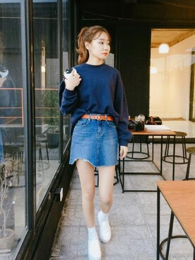 Daily about|DAILYABOUTさんの「シンプルサークルバックル牛革ベルト(P0000WOM)(Dailyabout)」を使ったコーディネート
