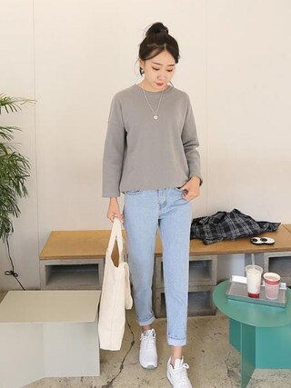 Daily about|DAILYABOUTさんの「レトロハイウエストウォッシングデニムパンツ(P0000WSL)(Dailyabout|デイリーアバウト)」を使ったコーディネート