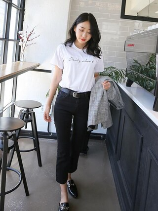 Daily about|DAILYABOUTさんの「ベーシックDAILYABOUTプリント半袖Tシャツ(P0000WTQ)(Dailyabout|デイリーアバウト)」を使ったコーディネート