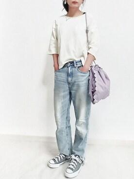 momoさんの「スカラップ巾着バッグ2524(merlot plus|メルロープリュス)」を使ったコーディネート