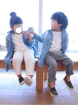 いづ&すぅさんの「ビックシルエットシャツワンピース(BRANSHES|ブランシェス)」を使ったコーディネート
