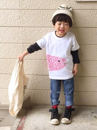 いづ&すぅさんの「skeegee×Leo Lionni ビッグプリントTシャツ(skeegee スキージー)」を使ったコーディネート