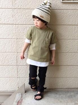 いづ&すぅさんの「シンプルビック半袖Tシャツ(BRANSHES|ブランシェス)」を使ったコーディネート